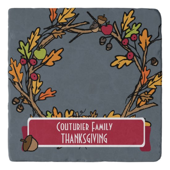 Fall Wreath Thanksgiving Dinner Personalize Trivet
