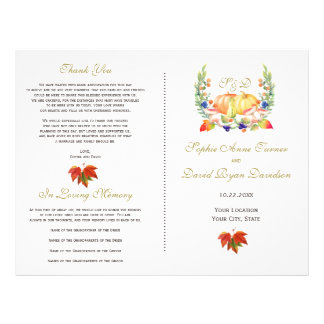 Fall Wreath Thanksgiving Wedding Program