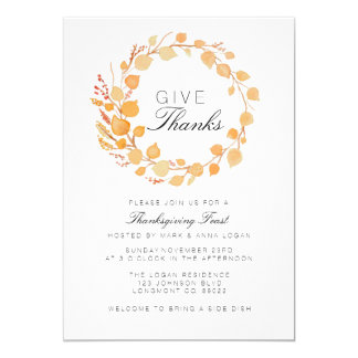 Fall Wreath Watercolor Thanksgiving Invite