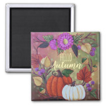 """""""Fall Wreath with Pumpkins"""" Custom Square Magnet"""