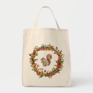 Fall wreath with squirrel watercolour tote bag