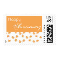 fall yellow graphic leaves happy anniversary postage