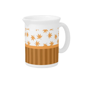 Fall yellow graphic maple leaves, classic, elegant beverage pitchers