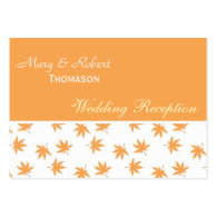 Fall yellow leaves wedding reception detail business card   templates