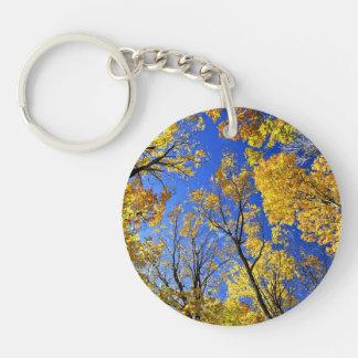 Fall yellow maple trees canopy keychain