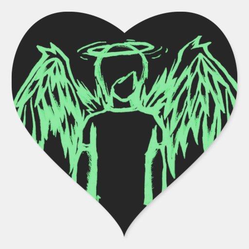 Fallen Angel Green Heart Stickers