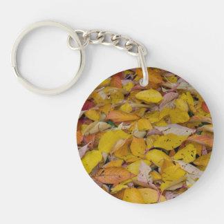 Fallen autumn leaves keychain
