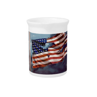 Fallen But Not Forgotten Smoke and Torn Flag Beverage Pitcher
