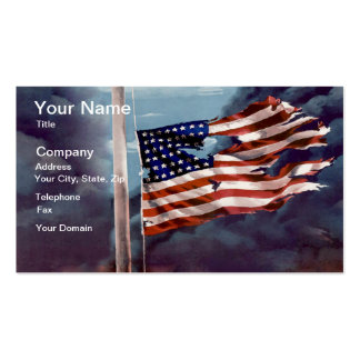 Fallen But Not Forgotten Smoke and Torn Flag Double-Sided Standard Business Cards (Pack Of 100)