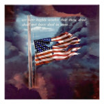 Fallen But Not Forgotten Smoke and Torn Flag Personalized Invitation