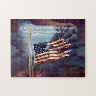 Fallen But Not Forgotten Smoke and Torn Flag Jigsaw Puzzle