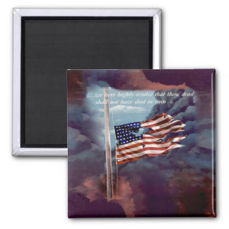 Fallen But Not Forgotten Smoke and Torn Flag Fridge Magnets