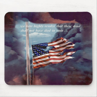 Fallen But Not Forgotten Smoke and Torn Flag Mouse Pad