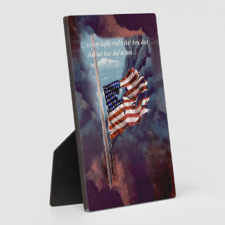 Fallen But Not Forgotten Smoke and Torn Flag Photo Plaques