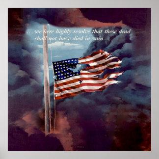 Fallen But Not Forgotten Smoke and Torn Flag Poster