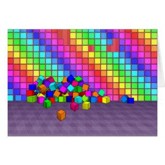 Fallen cubes 3D graphics design Card
