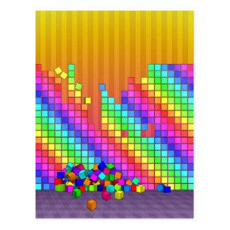 Fallen cubes 3D graphics design Postcard