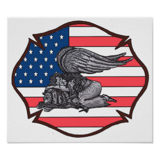 Fallen Fire Fighters Angel Poster