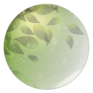 Fallen Green Leaves Dinner Plate
