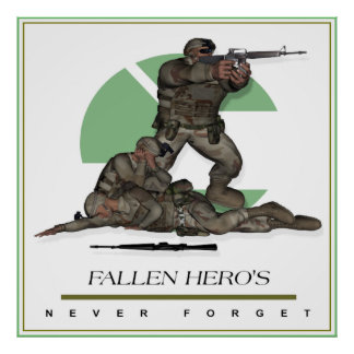 Fallen Heros Never Forget Military Combat Poster
