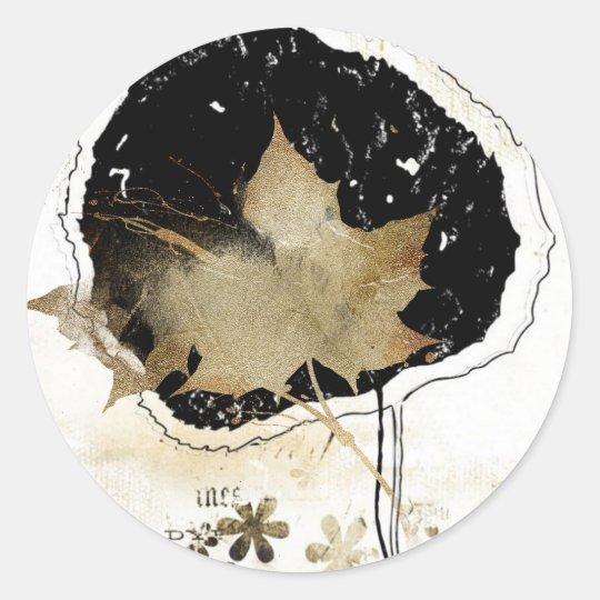 fallen leaf classic round sticker