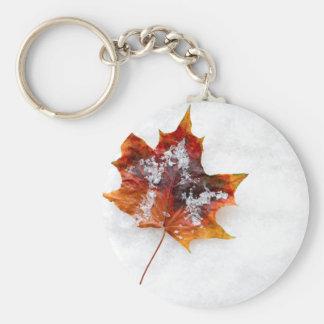 Fallen Leaf in the Snow Round Button Keychain