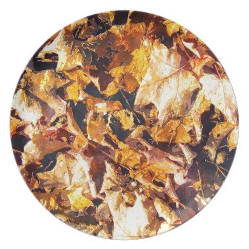 Fallen Leaves Autumn Winter Watercolor Art Plates
