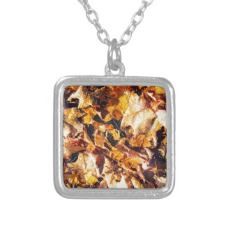 Fallen Leaves Autumn Winter Watercolor Art Silver Plated Necklace