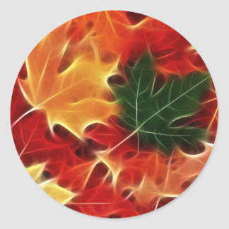Fallen Leaves Classic Round Sticker