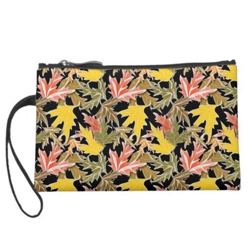 Fallen leaves clutch bag wristlet purse