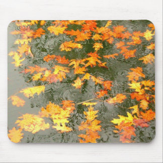 fallen leaves in rain mouse pad