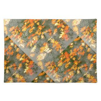 fallen leaves in rain placemat