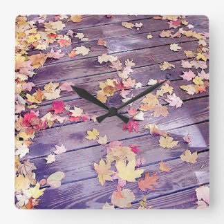 Fallen Leaves on Deck Square Wall Clock