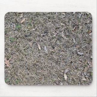 Fallen Leaves on Dry Grass Background Texture Mouse Pad