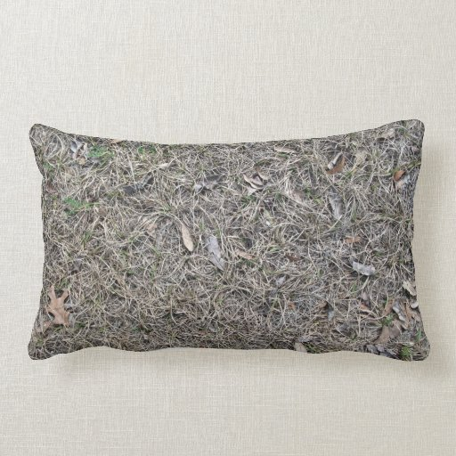 Fallen Leaves on Dry Grass Background Texture Pillows