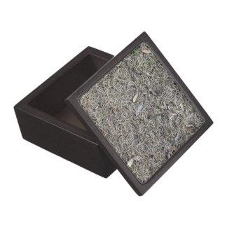 Fallen Leaves on Dry Grass Background Texture Premium Keepsake Boxes