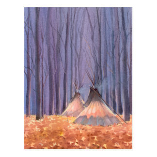 FALLEN LEAVES TIPIS by SHARON SHARPE Postcard