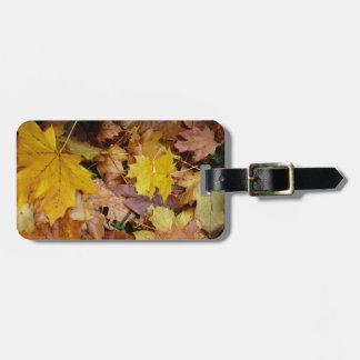 Fallen Maple Leaves Yellow Autumn Nature Bag Tag