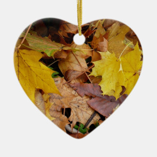 Fallen Maple Leaves Yellow Autumn Nature Ceramic Ornament