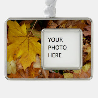 Fallen Maple Leaves Yellow Autumn Nature Christmas Ornament