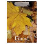 Fallen Maple Leaves Yellow Autumn Nature Clipboard