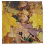 Fallen Maple Leaves Yellow Autumn Nature Cloth Napkin