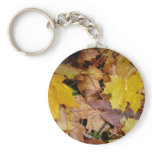 Fallen Maple Leaves Yellow Autumn Nature Keychain
