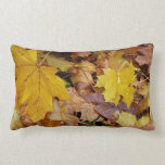 Fallen Maple Leaves Yellow Autumn Nature Lumbar Pillow