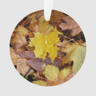 Fallen Maple Leaves Yellow Autumn Nature Ornament