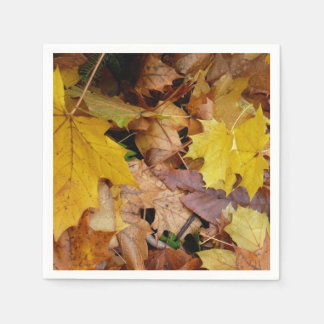 Fallen Maple Leaves Yellow Autumn Nature Paper Napkin