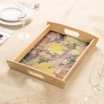 Fallen Maple Leaves Yellow Autumn Nature Serving Tray