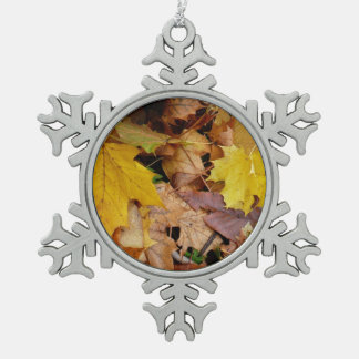 Fallen Maple Leaves Yellow Autumn Nature Snowflake Pewter Christmas Ornament