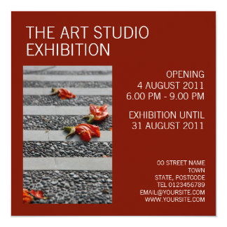 Art exhibition invitations announcements zazzle fallen petals carmine invitation stopboris Choice Image