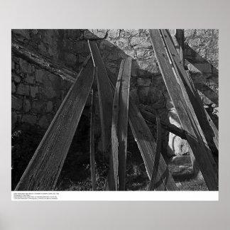 Fallen Roof Boards near Old Kilns, 1963 Poster